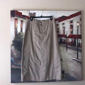 Christopher & Banks khaki denim skirt